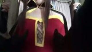 【アダルト動画】このすばのめぐみんのコスプレ美少女がぺにすをペロペロしてから騎上位ファック