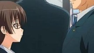 【アニメ】セーラー服に黒ストッキングの黒髪ロングな淑やかな美人秘書が議員先生を性接待し巨根の痛みに耐えながらもご奉仕