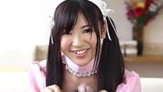 【コスプレ】黒髪ツインテール、色白可愛いメイド喫茶の店員さんが店内でご主人様にご奉仕フェラ